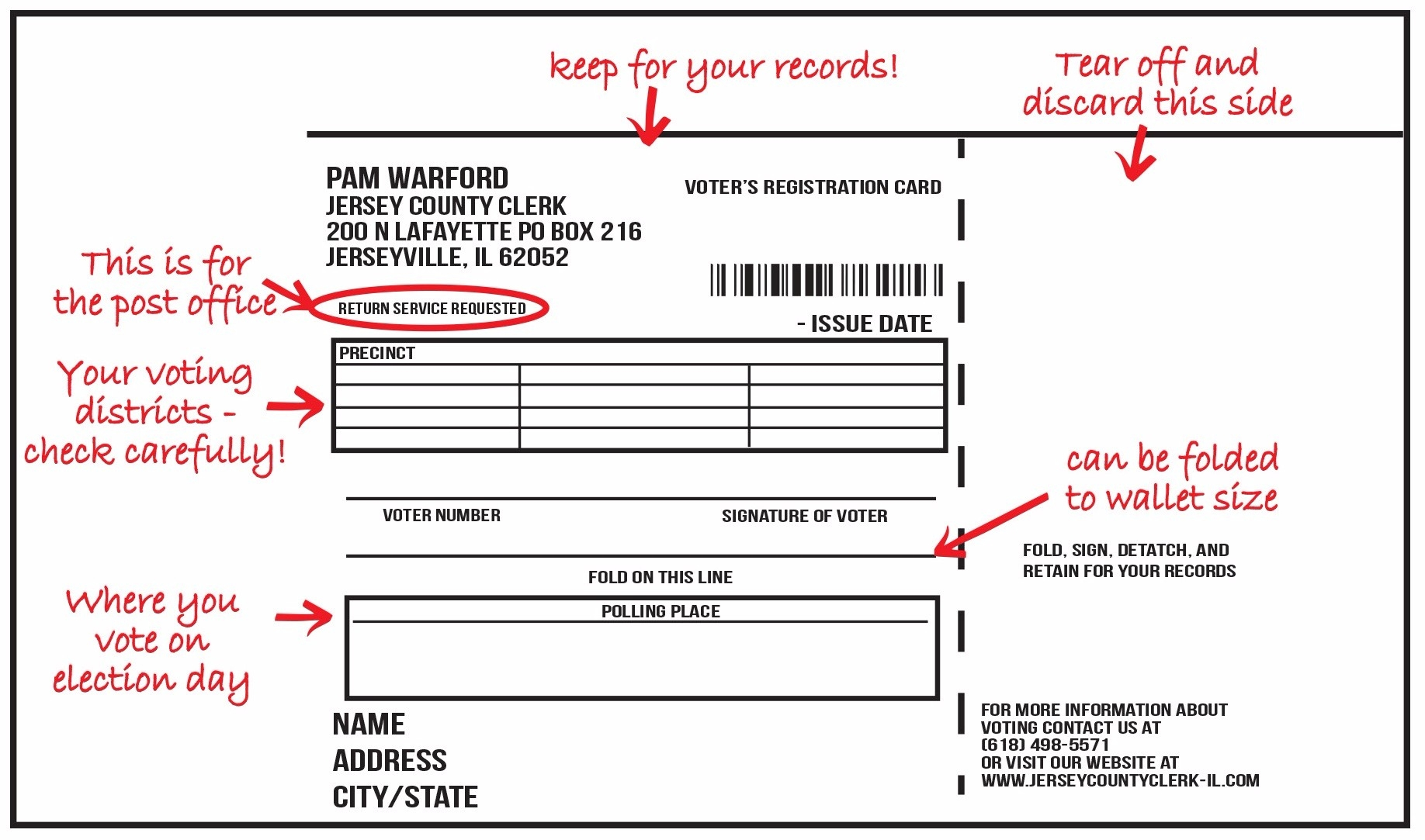 Voter registration card jersey county clerk below is an example of the front and back of the voters registration card aiddatafo Images